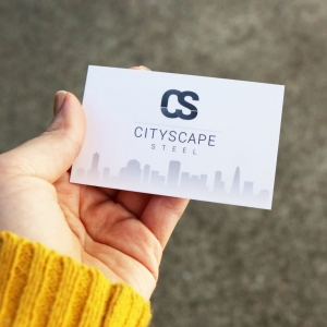Cityscape Steel business card design Newcastle NSW graphic design