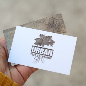 Urban Tree Solutions business card design Newcastle NSW graphic design