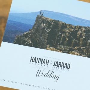 Hannah and Jarrad wedding invitation design Newcastle wedding Hunter wedding