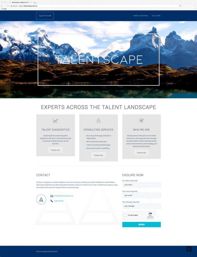 Talentscape HR website design Newcastle NSW web design and website development