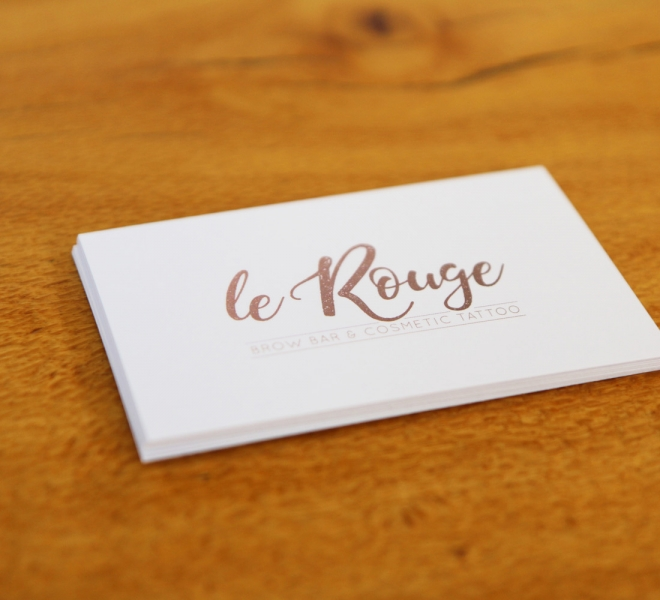 Business card design, Logo design, branding and graphic design for Le Rouge Brow Bar and Cosmetic Tattoo based in Newcastle NSW