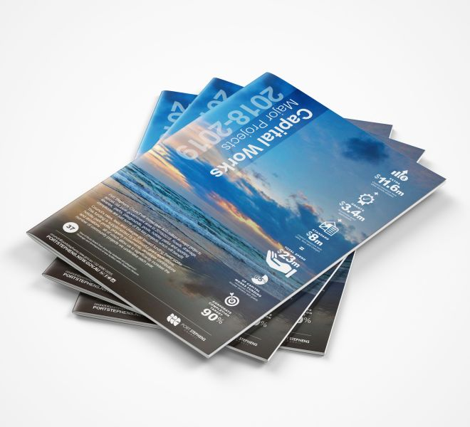 Custom infographics and brochure graphic design for Port Stephens Council Capital Works 2019