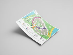 Hand-illustrated map and graphic design for Halifax Holiday Park Shoal Bay Port Stephens